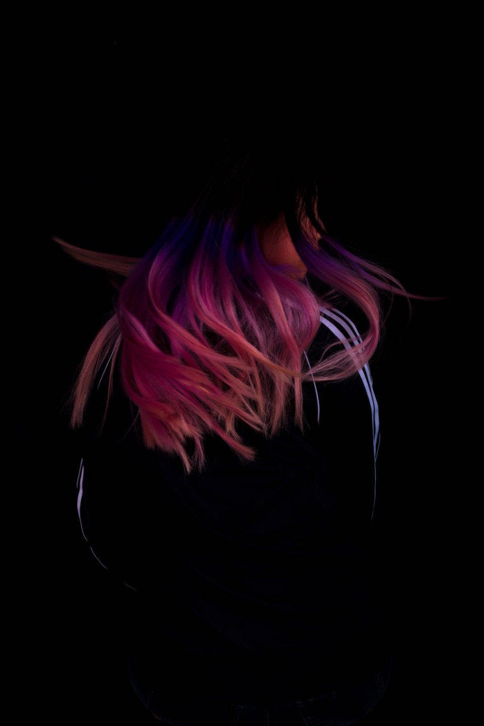 Color hair on black background